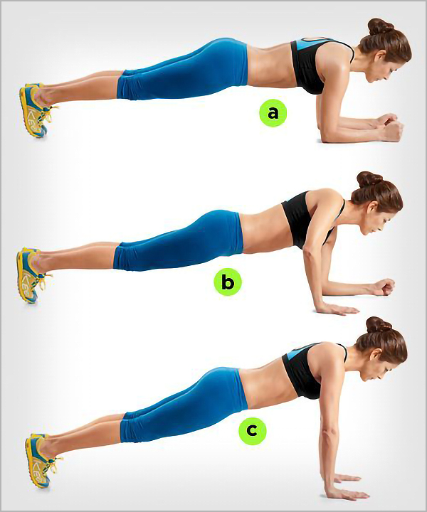 plank up and downs