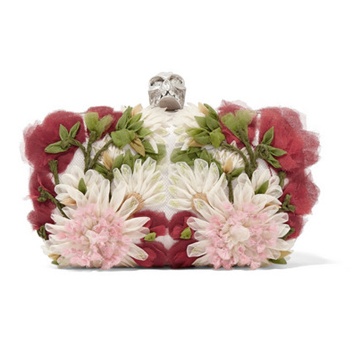 Alexander McQueen skull floral tulle satin box clutch