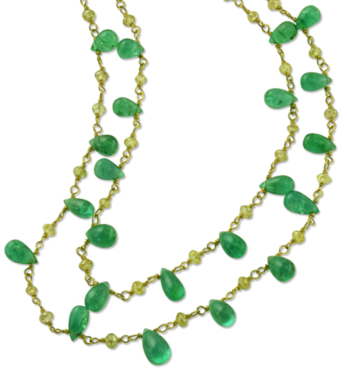 Emerald Briolette Necklace