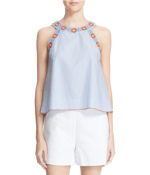 Tory Burch Meg Stripe Embroidered Top